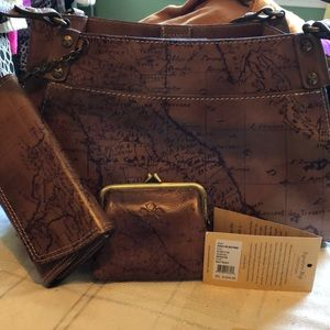 NWT Patricia Nash 3piece purse set MAP PRINT